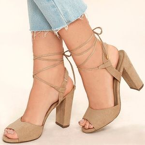 Elle Natural Suede Lace Up Heels